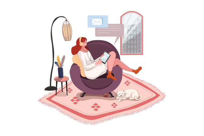 Woman Working Remotely at home Illustration