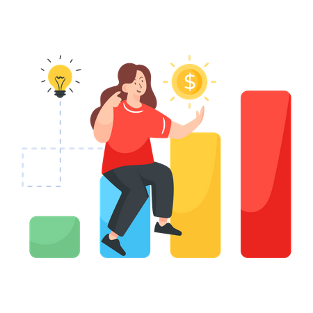 Woman working to increase revenue Illustration