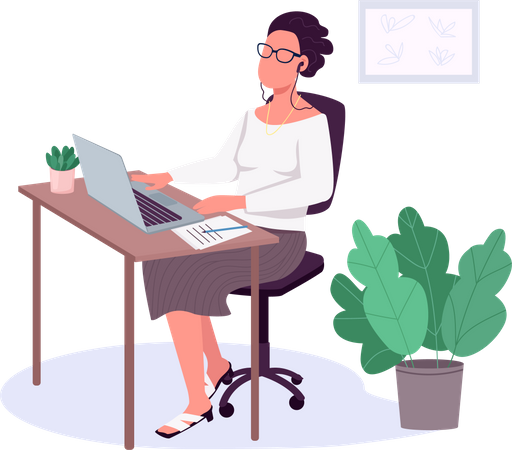 Woman working with laptop Illustration