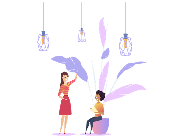 Woman Workplace Loft Modern Plant with Co-working Illustration
