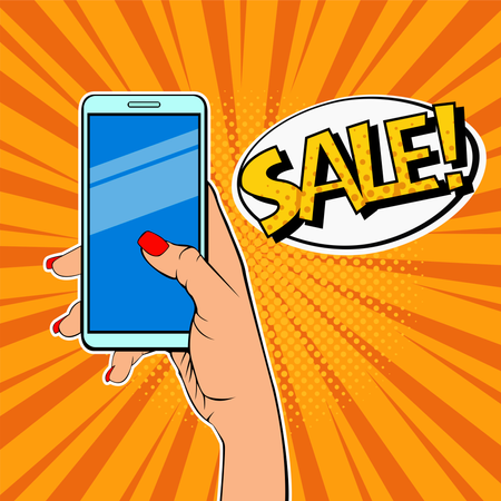 Woman's hand holding smartphone and description Sale Illustration