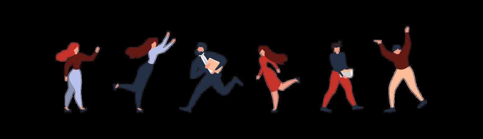 Women and Men Characters Standing, Running, Hurrying, Dancing Illustration