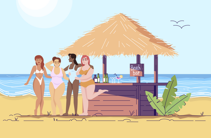 Women at beach bar Illustration