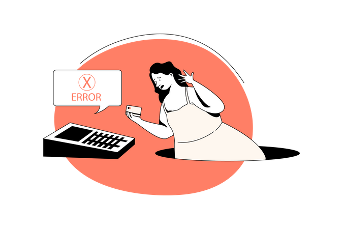 Women credit card payment not working Illustration