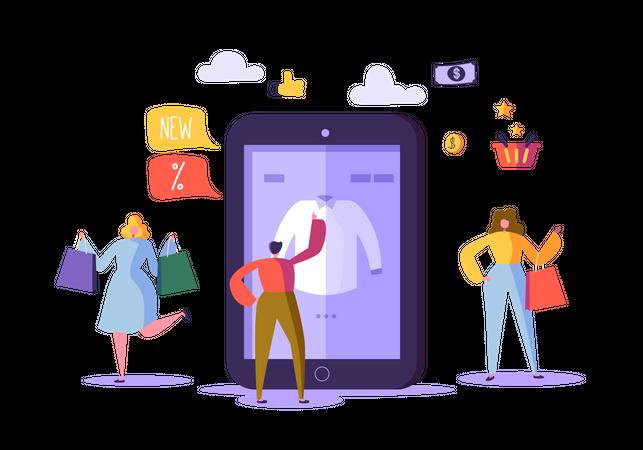 Women doing online shopping Illustration