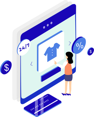 Women doing online shopping and card payment Illustration