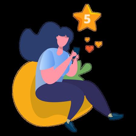 Women giving 5 star reviews Illustration