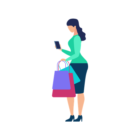 Women Holding Shopping bags and doing online payment Illustration