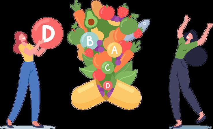 Women Holding Vitamin D Symbol Illustration