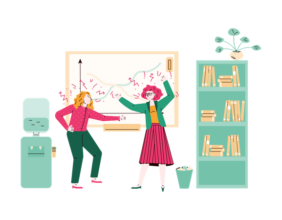 Women in conflict having a scream fight in classroom Illustration