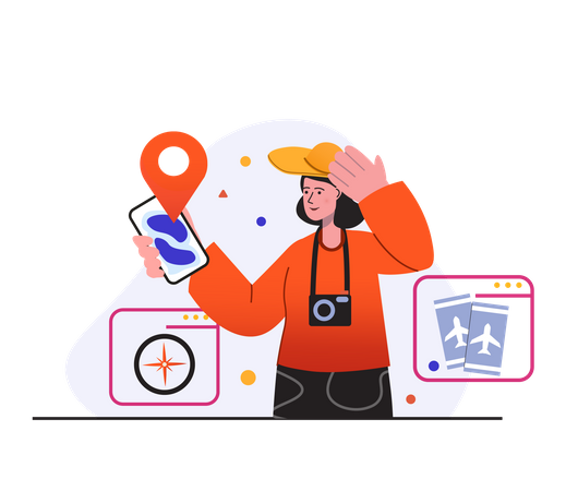Women Looking Location In Mobile Illustration