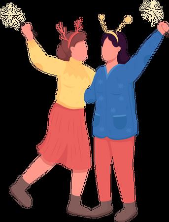 Women on festive night Illustration