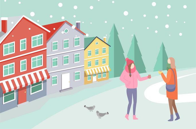 Women on Snowing Street near Colorful House Illustration