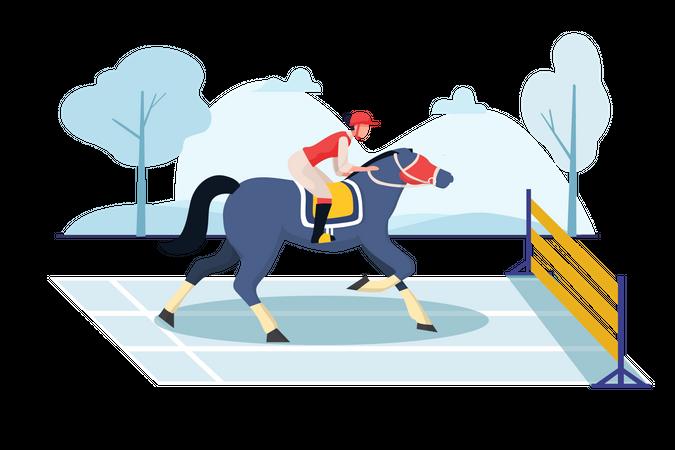 Women riding horse in horse huddle race Illustration