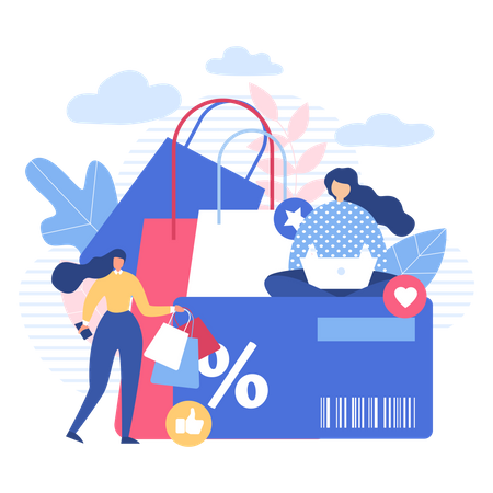 Women Shopping Online with Discount card Illustration
