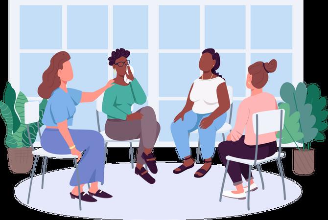 Women social support group Illustration