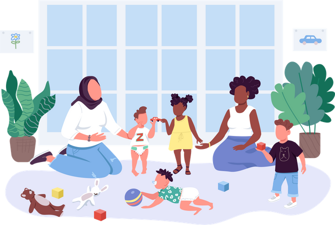 Women spend time with their children Illustration