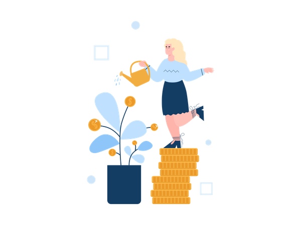 Women standing on pile of coin watering money plant Illustration