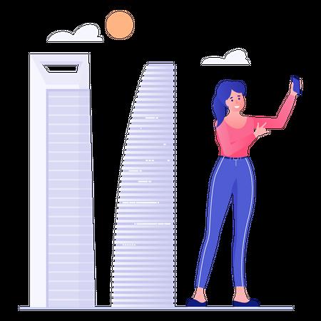Women Talking Selfie Over Buildings Illustration