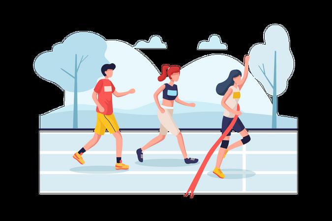 Women winning and cross finish line of marathon Illustration