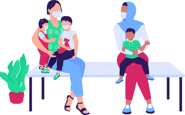 Women with children waiting in hospital Illustration