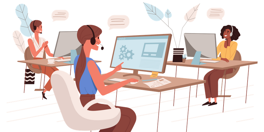 Women Working At Call Center Illustration