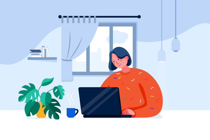 Women Working From home Illustration