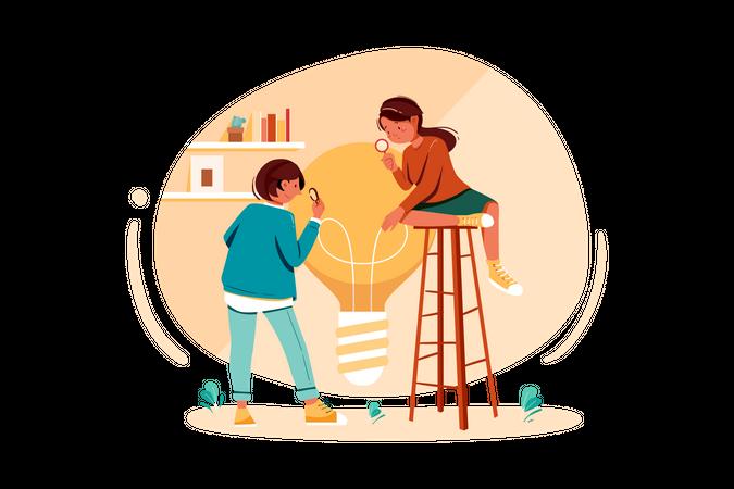 Women working on innovative business idea Illustration