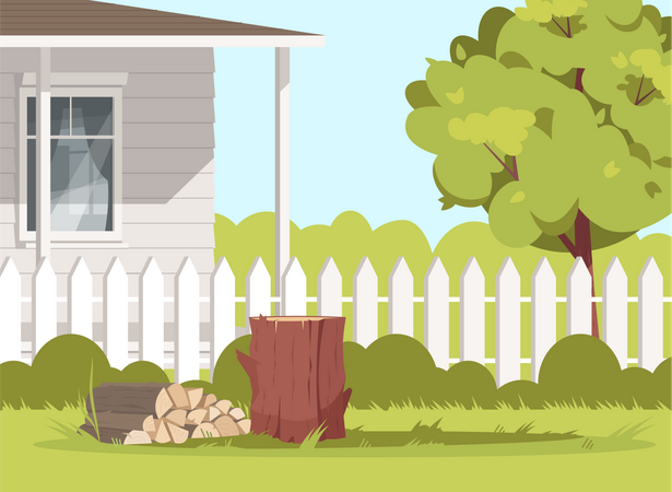 Wood Logs At Farm Backyard Illustration