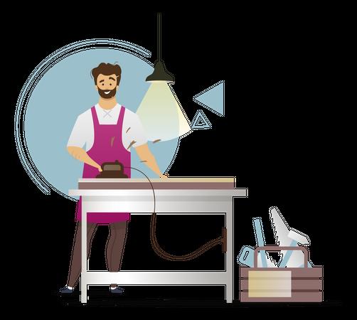 Woodworker crafts wooden equipments Illustration