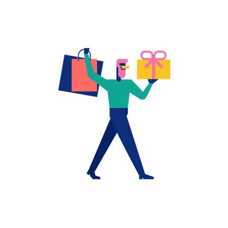 Woohoo Shopping Character boy holding gift boxes and shopping bags Illustration