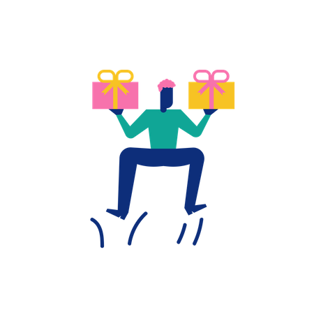 Woohoo Shopping Character boy holding gift boxes or presents Illustration