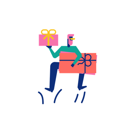 Woohoo Shopping Character boy holding gift vouchers and gift box Illustration