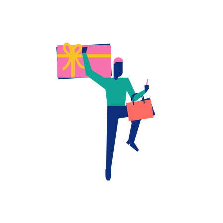 Woohoo Shopping Character boy holding gift vouchers and shopping bags Illustration