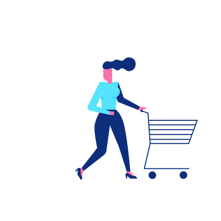Woohoo Shopping Character female with empty shopping cart Illustration
