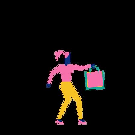 Woohoo Shopping Character holding shopping bags Illustration