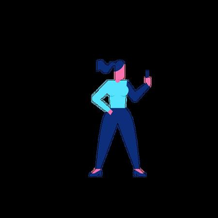 Woohoo Shopping Character holding smartphone Illustration