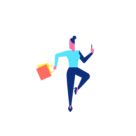 Woohoo Shopping Character holding smartphone and shopping bags Illustration