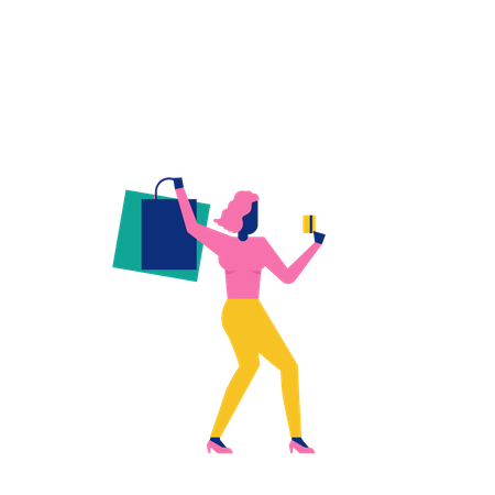 Woohoo Shopping Character lady holding credit card and shoping bags Illustration