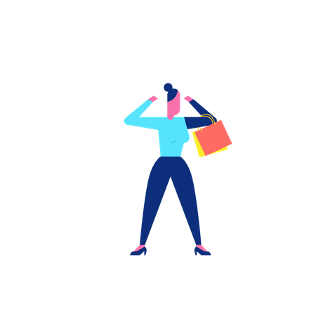 Woohoo Shopping Character lady holding shopping bags Illustration