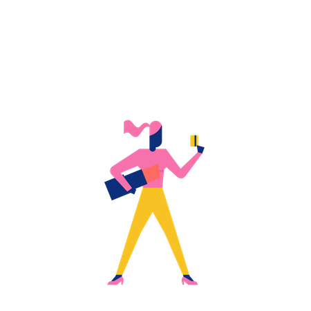 Woohoo Shopping Character lady with holding lipstick and credit or debit card Illustration