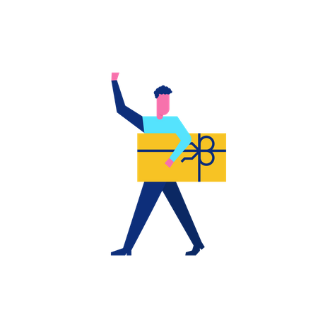 Woohoo Shopping Character man holding gift voucher Illustration