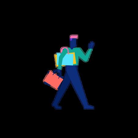 Woohoo Shopping Character man holding shopping bags Illustration