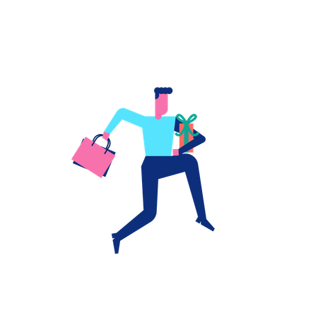 Woohoo Shopping Character man running with shopping bags and gift box Illustration