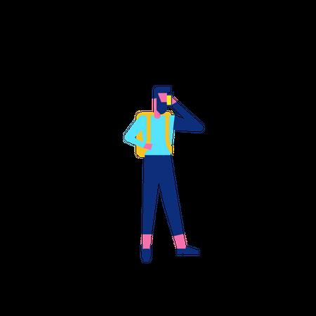 Woohoo Shopping Character man talking on smartphone Illustration