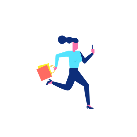Woohoo Shopping Character running with holding smartphone and shopping bags Illustration