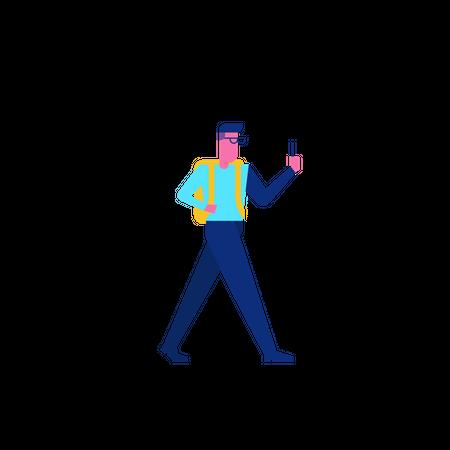 Woohoo Shopping Character walking holding smartphone Illustration