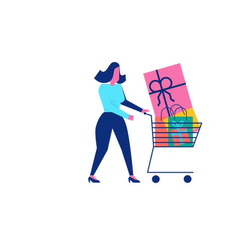 Woohoo Shopping Character with gift boxes and presents in trolley Illustration