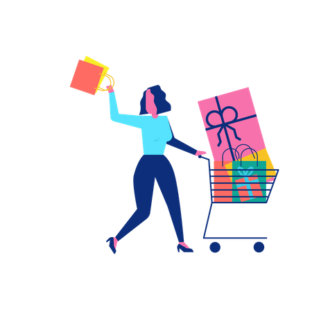 Woohoo Shopping Character with gifts and presents in shopping cart Illustration
