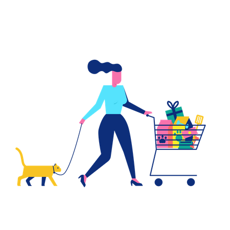 Woohoo Shopping Character with pet cat and pet accessories in trolley Illustration